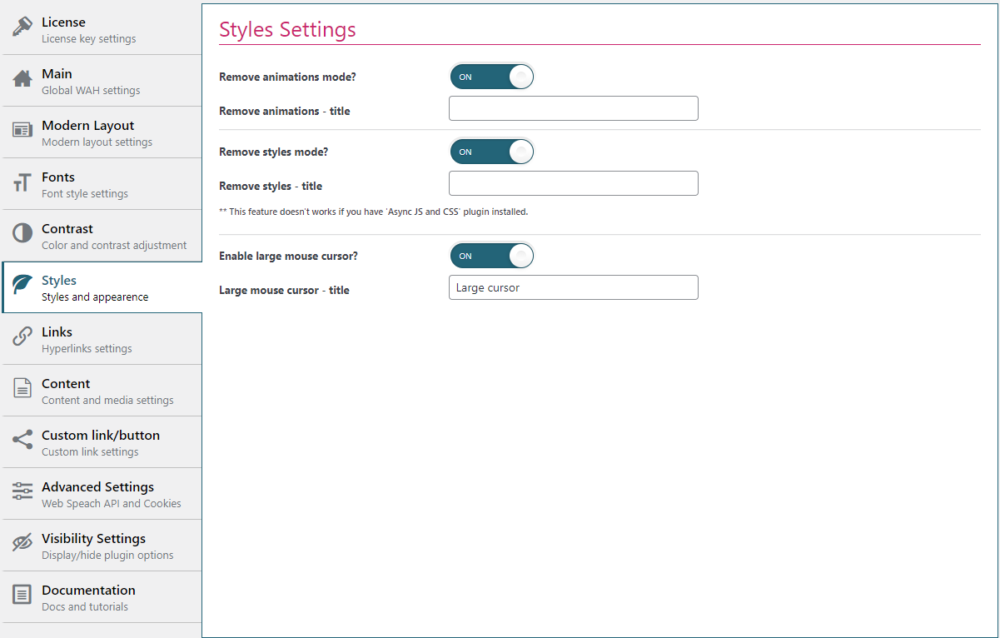 style settings section